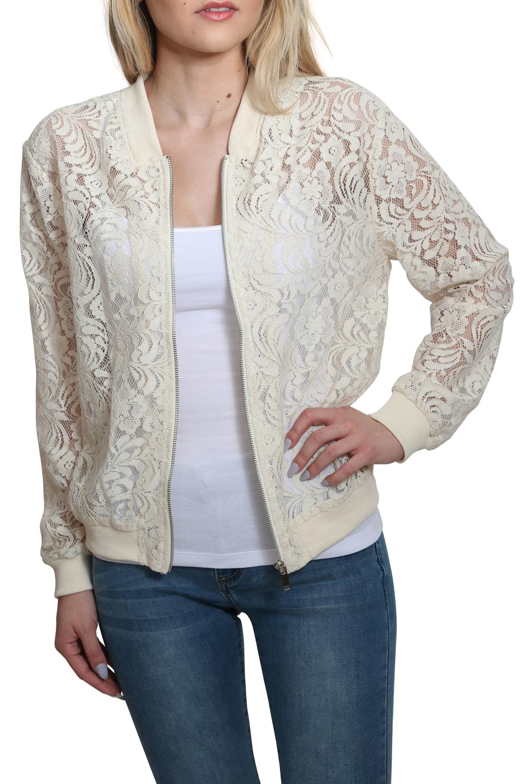 Umgee USA Zip Up Lace Bomber Jacket - Back Cropped Image