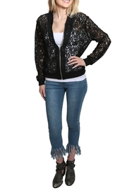 Umgee USA Zip Up Lace Bomber Jacket - Front cropped