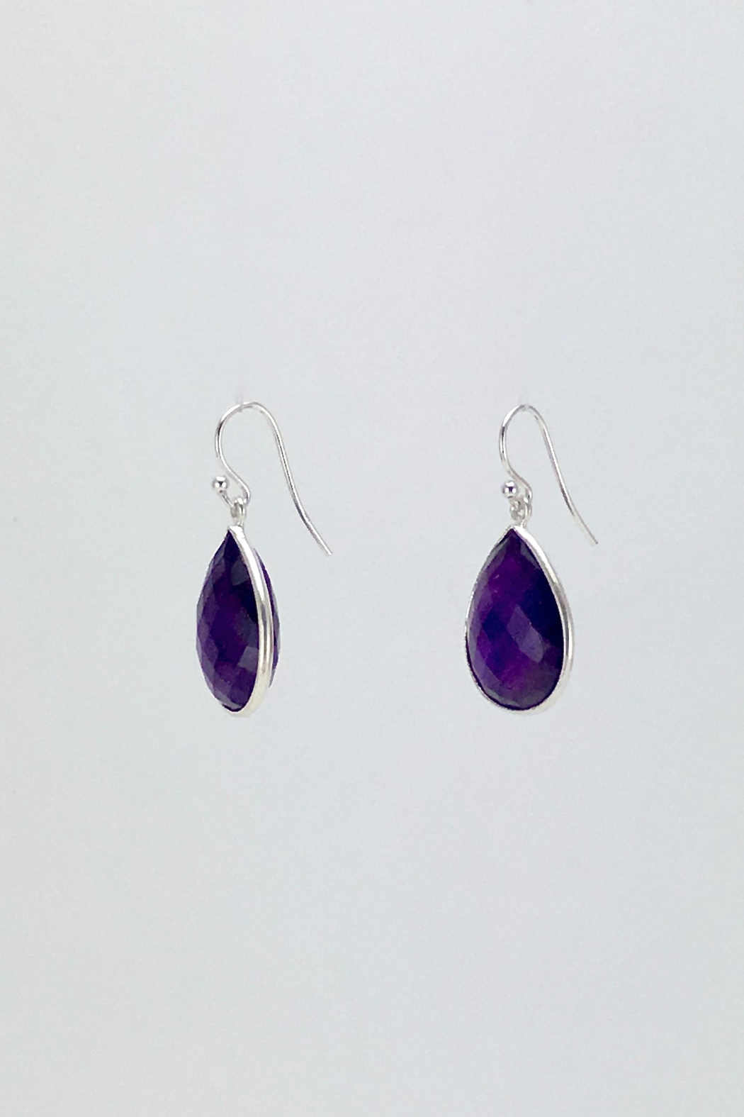 Unbranded Amethyst-Teardrop Silver Earrings - Side Cropped Image