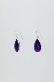 Unbranded Amethyst-Teardrop Silver Earrings - Side cropped