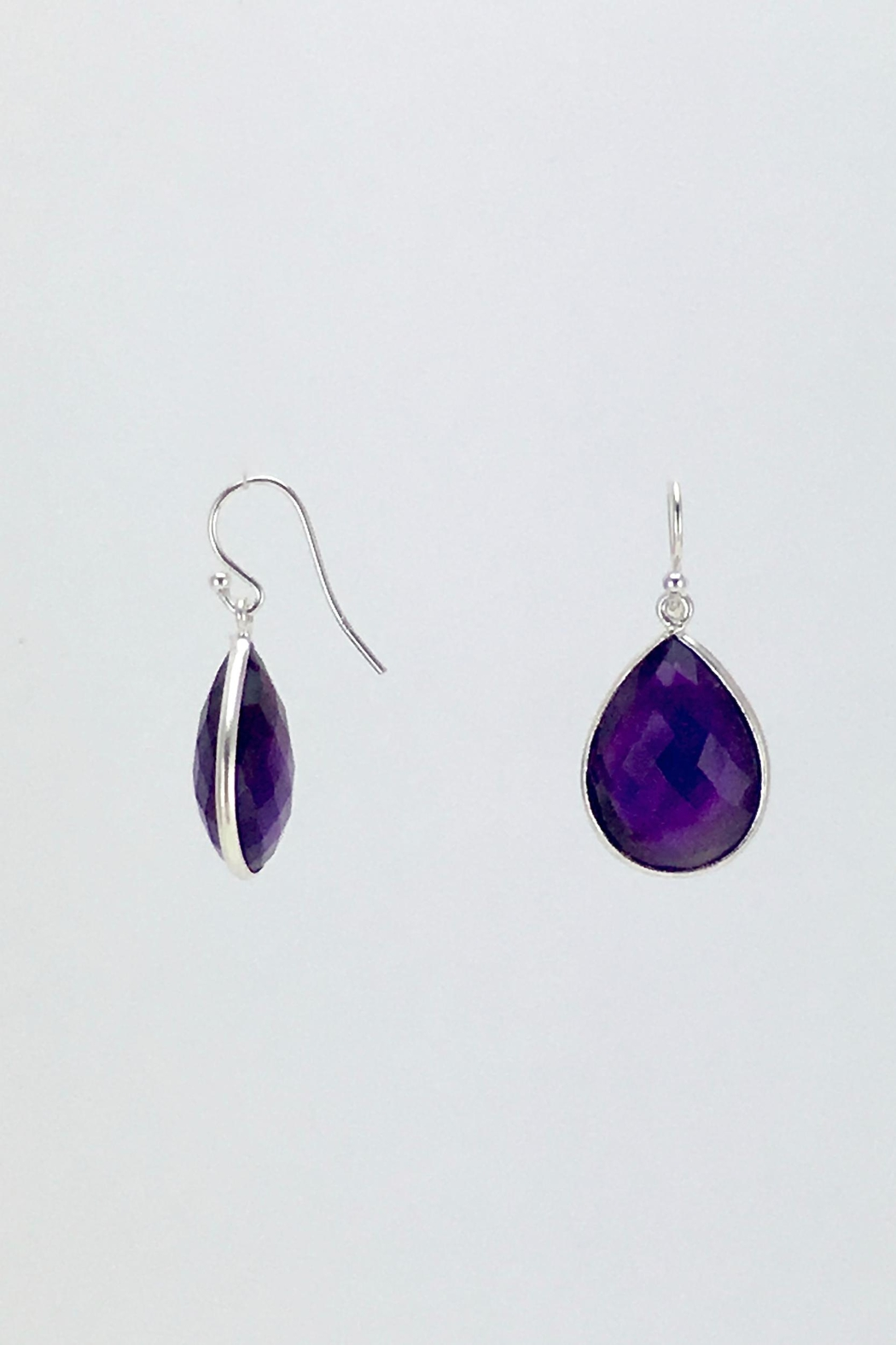 Unbranded Amethyst-Teardrop Silver Earrings - Front Full Image