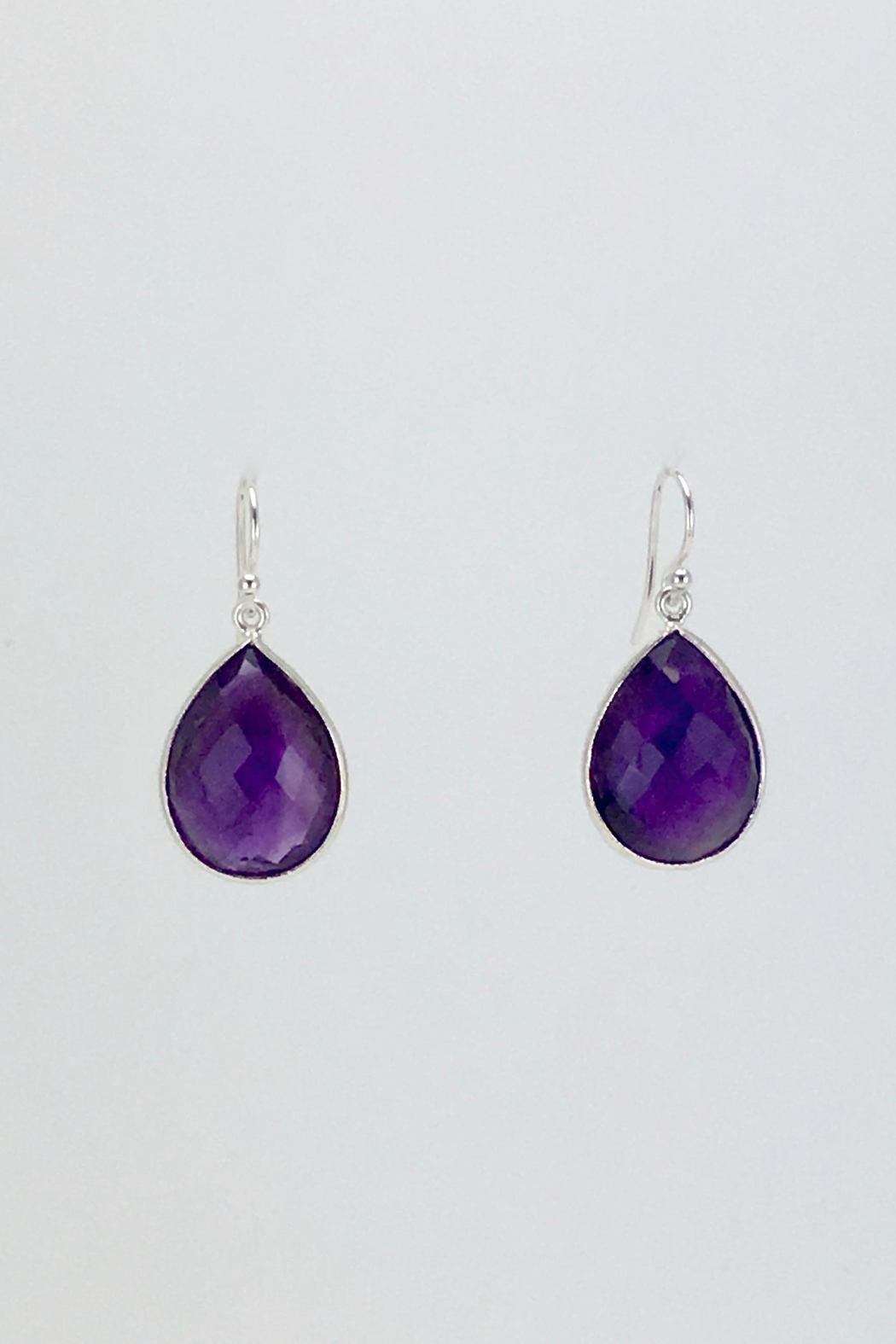 Unbranded Amethyst-Teardrop Silver Earrings - Main Image