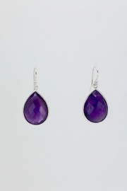 Unbranded Amethyst-Teardrop Silver Earrings - Front cropped