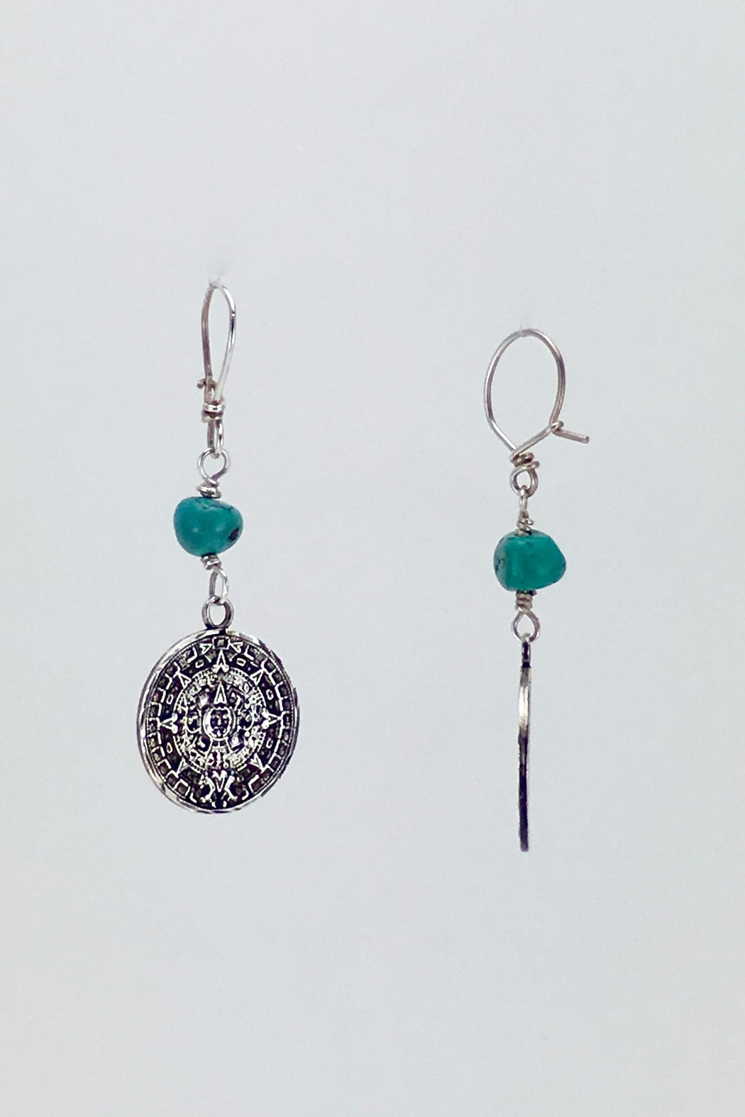Unbranded Aztec-Calendar Silver-And-Turquoise Earrings - Side Cropped Image