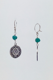 Unbranded Aztec-Calendar Silver-And-Turquoise Earrings - Side cropped