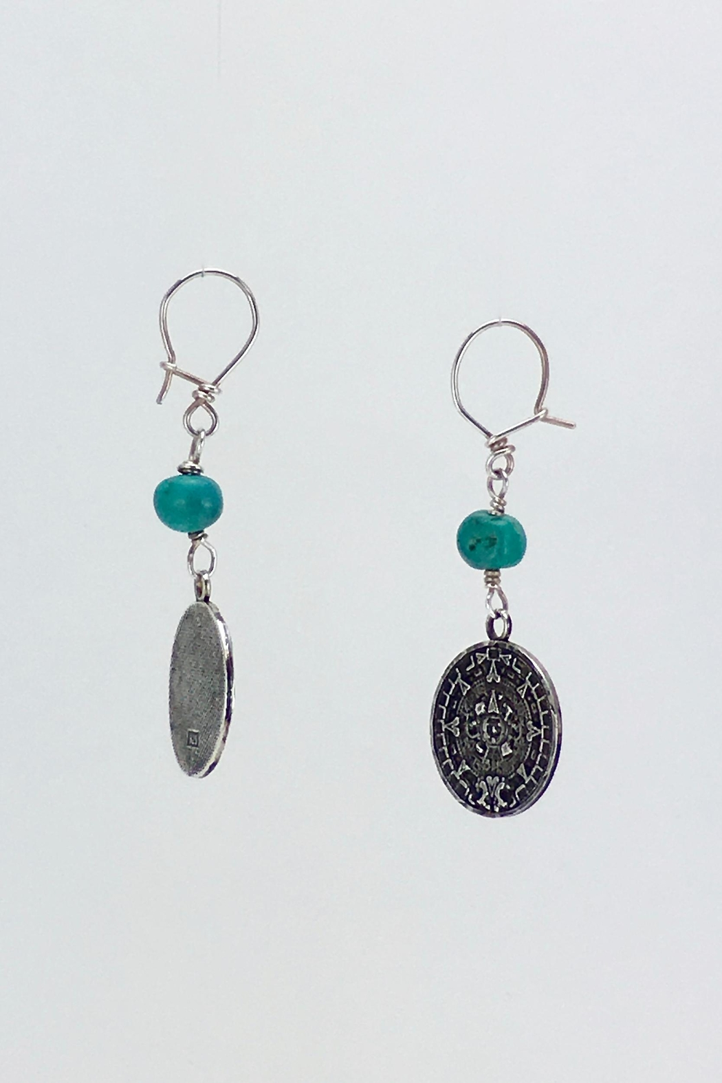 Unbranded Aztec-Calendar Silver-And-Turquoise Earrings - Back Cropped Image