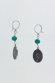 Unbranded Aztec-Calendar Silver-And-Turquoise Earrings - Back cropped