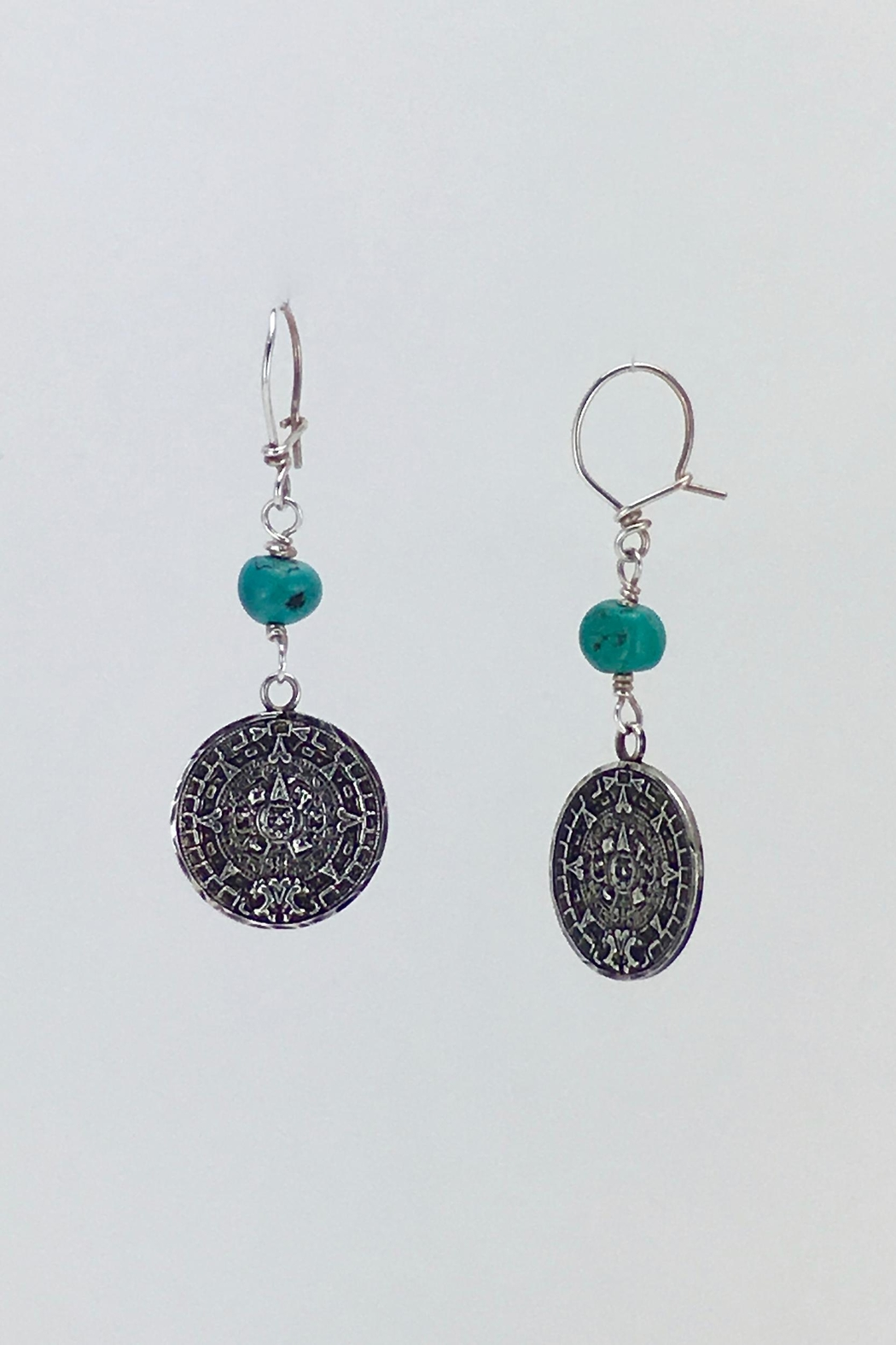 Unbranded Aztec-Calendar Silver-And-Turquoise Earrings - Front Full Image