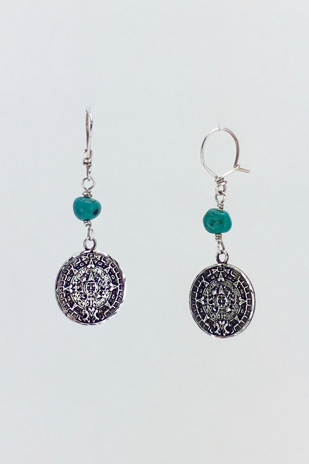 Unbranded Aztec-Calendar Silver-And-Turquoise Earrings - Main Image