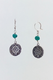 Unbranded Aztec-Calendar Silver-And-Turquoise Earrings - Front cropped