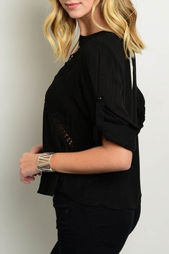 Julian Love Black Cutout Blouse - Alternate List Image
