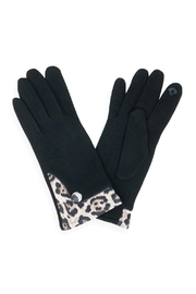 Unbranded Black Leopard-Trim Gloves - Product Mini Image