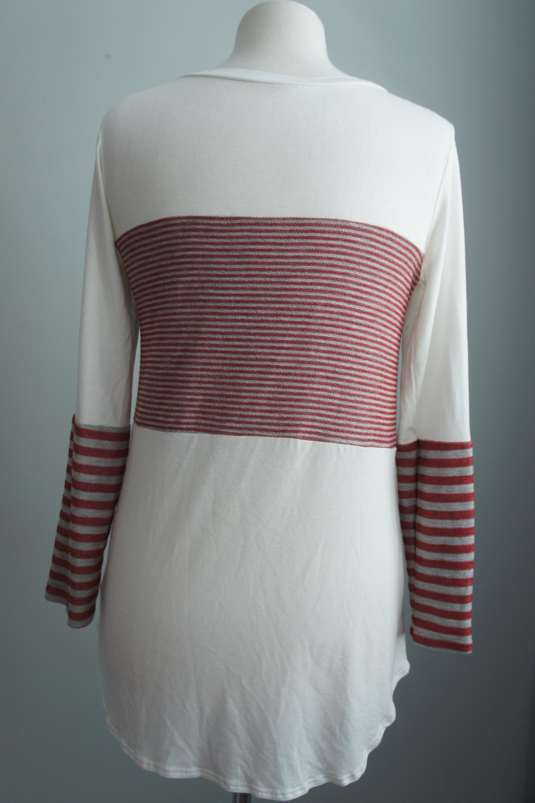 Unbranded Block-Grey-Red Stripe Top - Side Cropped Image