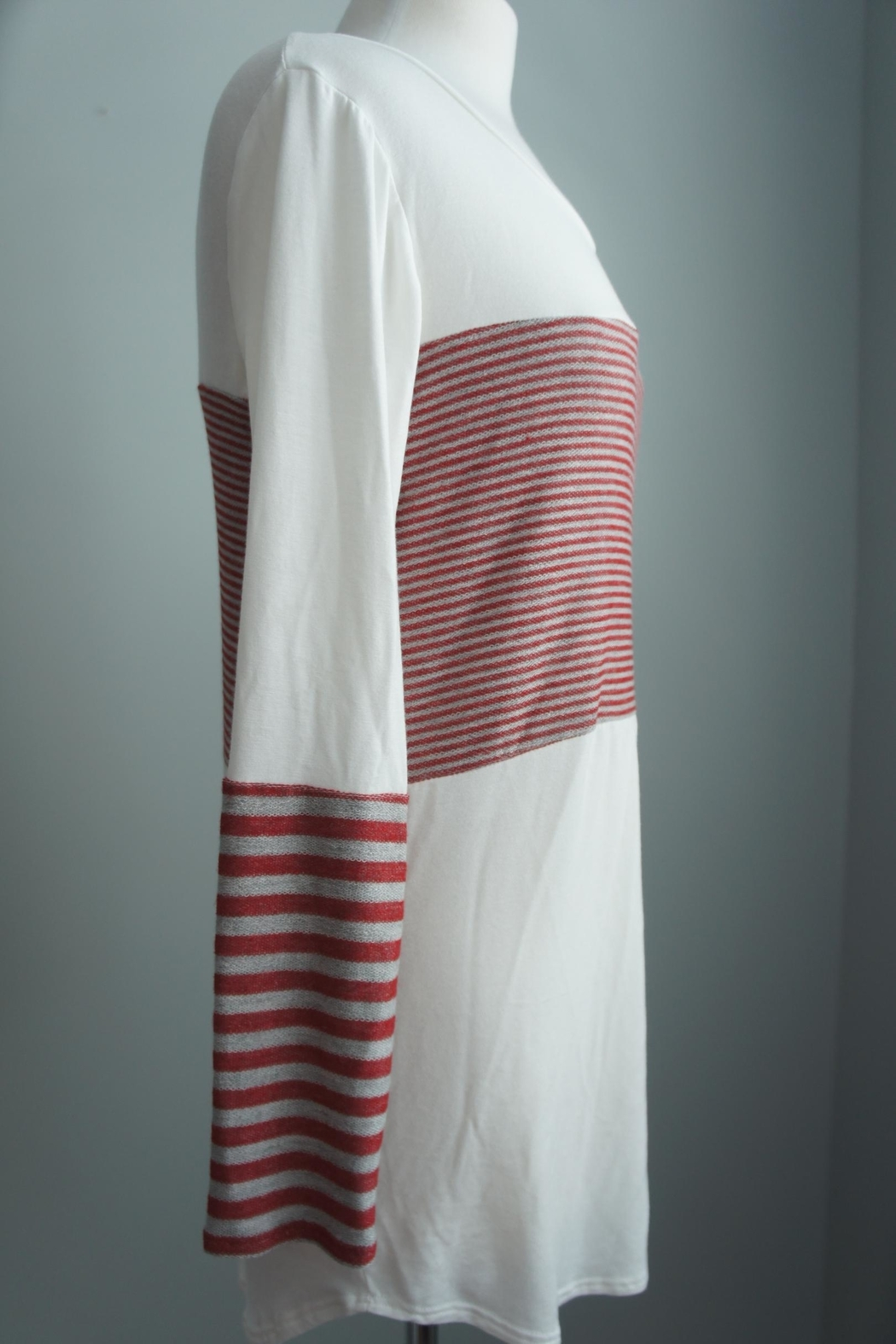 Unbranded Block-Grey-Red Stripe Top - Front Full Image