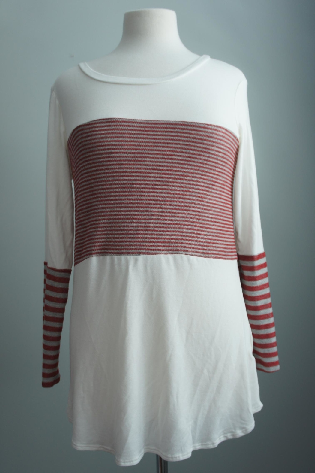 Unbranded Block-Grey-Red Stripe Top - Main Image