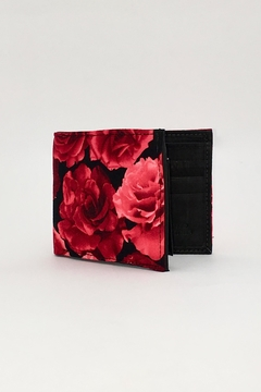 Shoptiques Product: Bright-Red-Roses-Print Handcrafted-Billfold Wallet