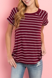 Unbranded Burgundy Stripe Top - Product Mini Image