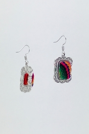 Unbranded Colorful-Woven-Textile Handcrafted Earrings - Side cropped