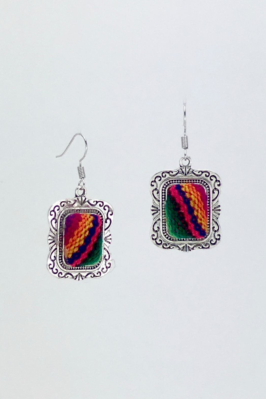 Unbranded Colorful-Woven-Textile Handcrafted Earrings - Main Image