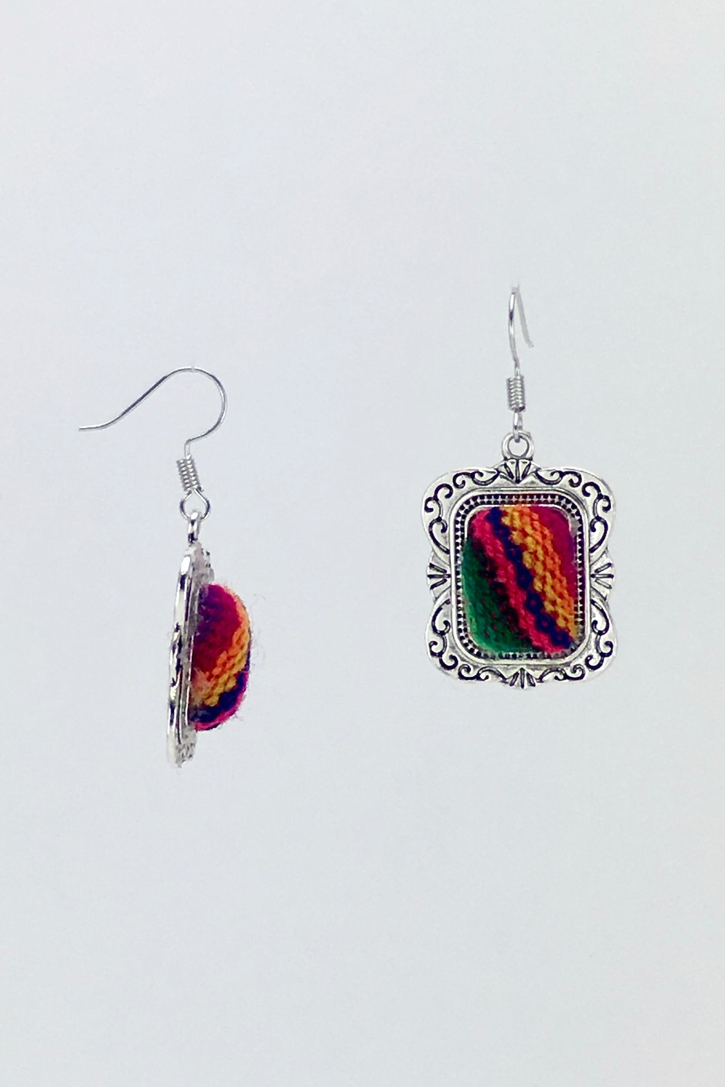 Unbranded Colorful-Woven-Textile Handcrafted Earrings - Front Full Image