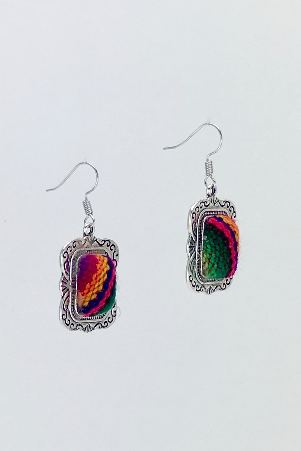 Unbranded Colorful-Woven-Textile Handcrafted Earrings - Back Cropped Image