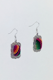 Unbranded Colorful-Woven-Textile Handcrafted Earrings - Back cropped