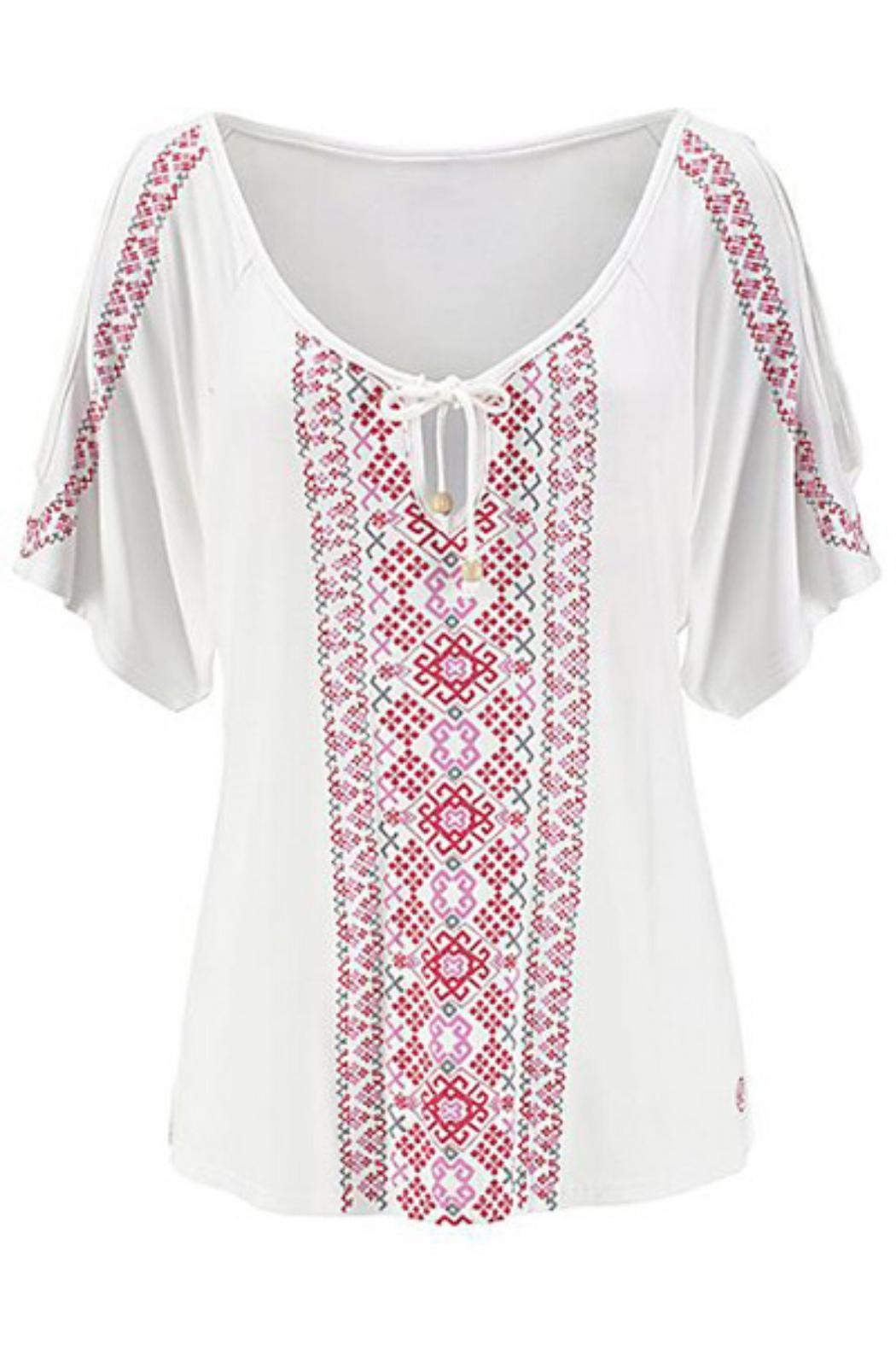 Unbranded Cream Printed Top - Front Full Image