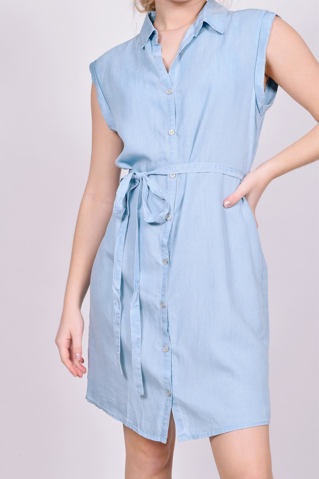 Unbranded Denim Button-Down Dress - Side Cropped Image