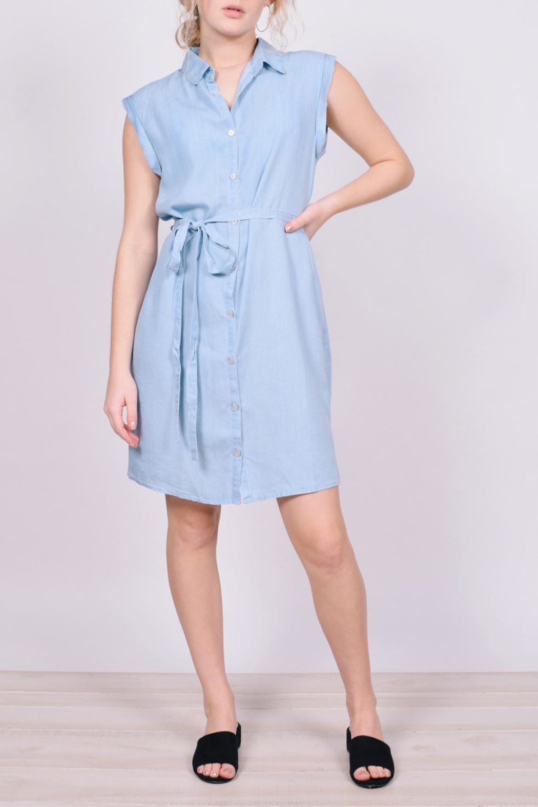 Unbranded Denim Button-Down Dress - Front Full Image