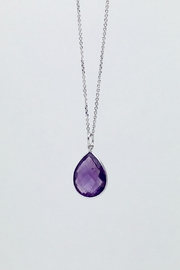 Unbranded Faceted-Amethyst-Teardrop Sterlings-Silver Pendant - Product Mini Image