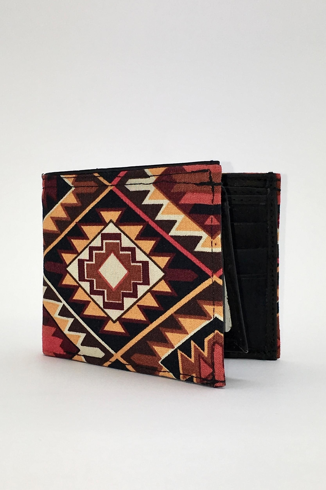Unbranded Geometric-Print Handcrafted-Billfold Wallet - Main Image