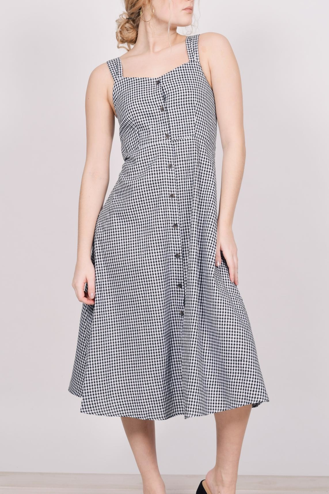 Unbranded Gingham Midi Dress - Side Cropped Image