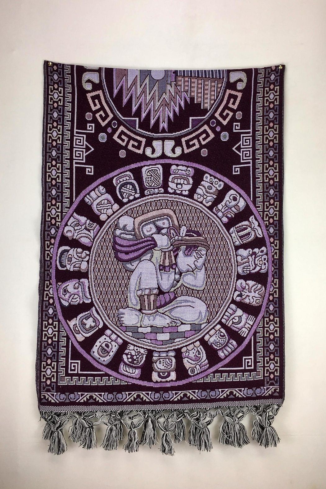 Unbranded Mayan-Calendar Woven-Textile Handcrafted-Rebozo - Front Full Image