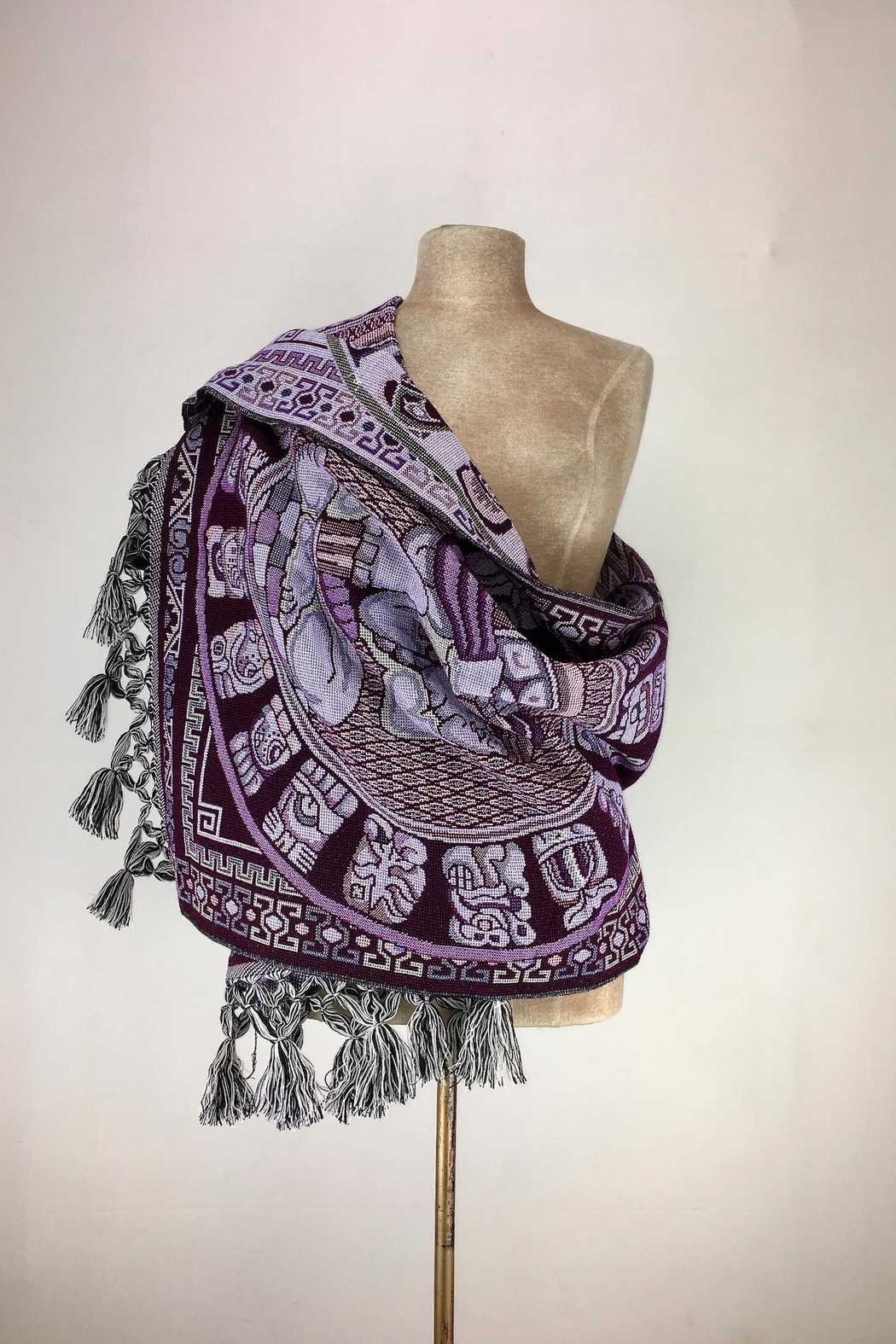 Unbranded Mayan-Calendar Woven-Textile Handcrafted-Rebozo - Main Image
