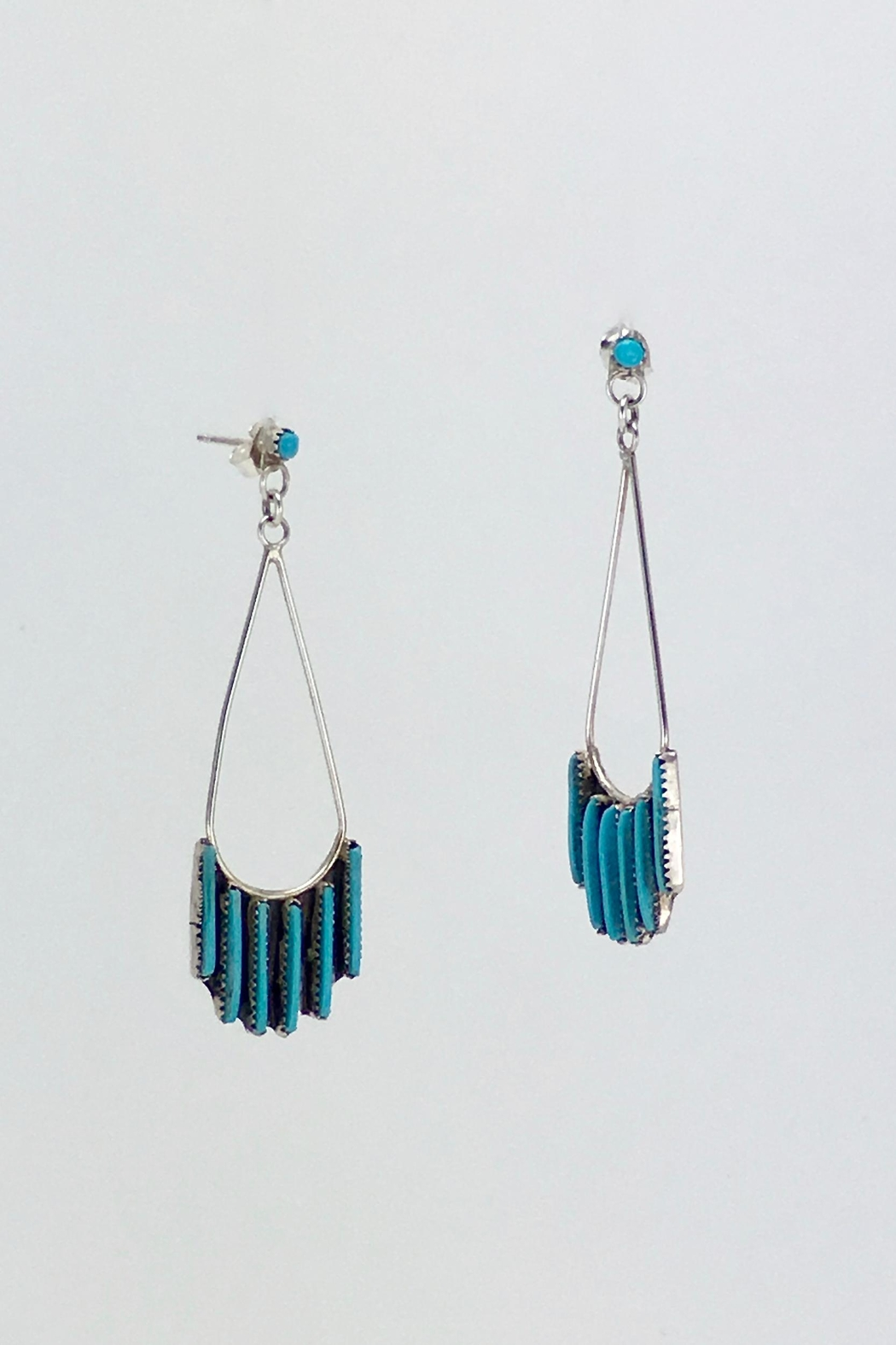 Unbranded Native-American Needle-Point-Turquoise Earrings - Back Cropped Image