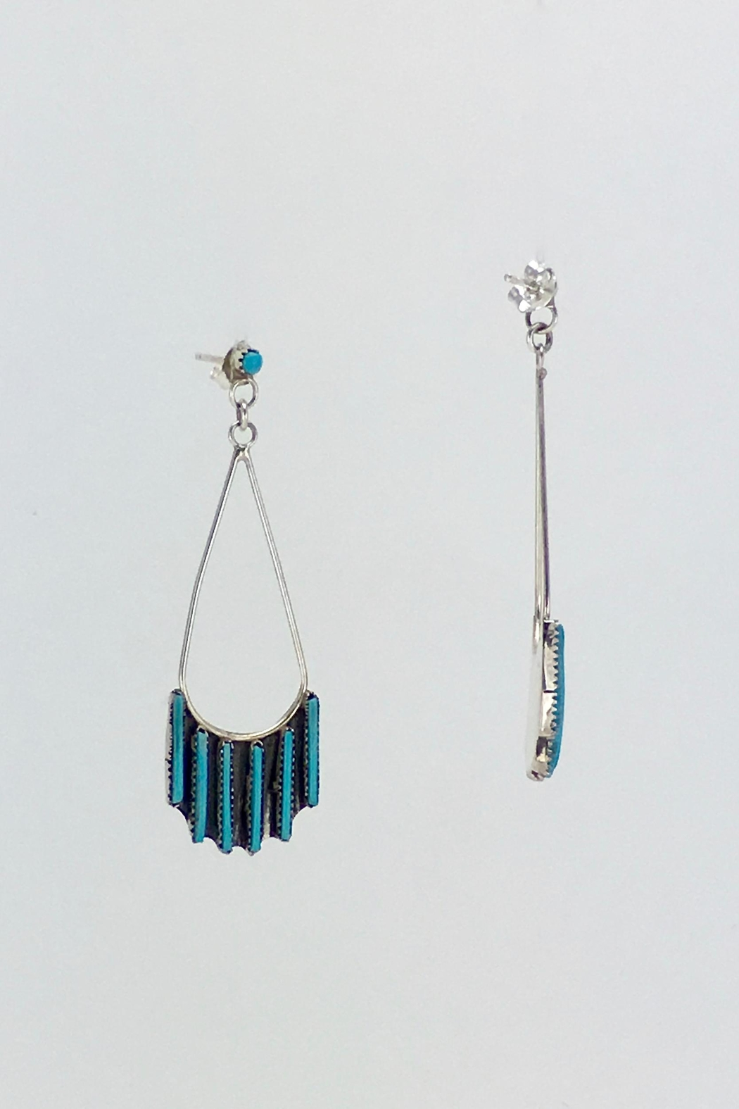 Unbranded Native-American Needle-Point-Turquoise Earrings - Front Full Image