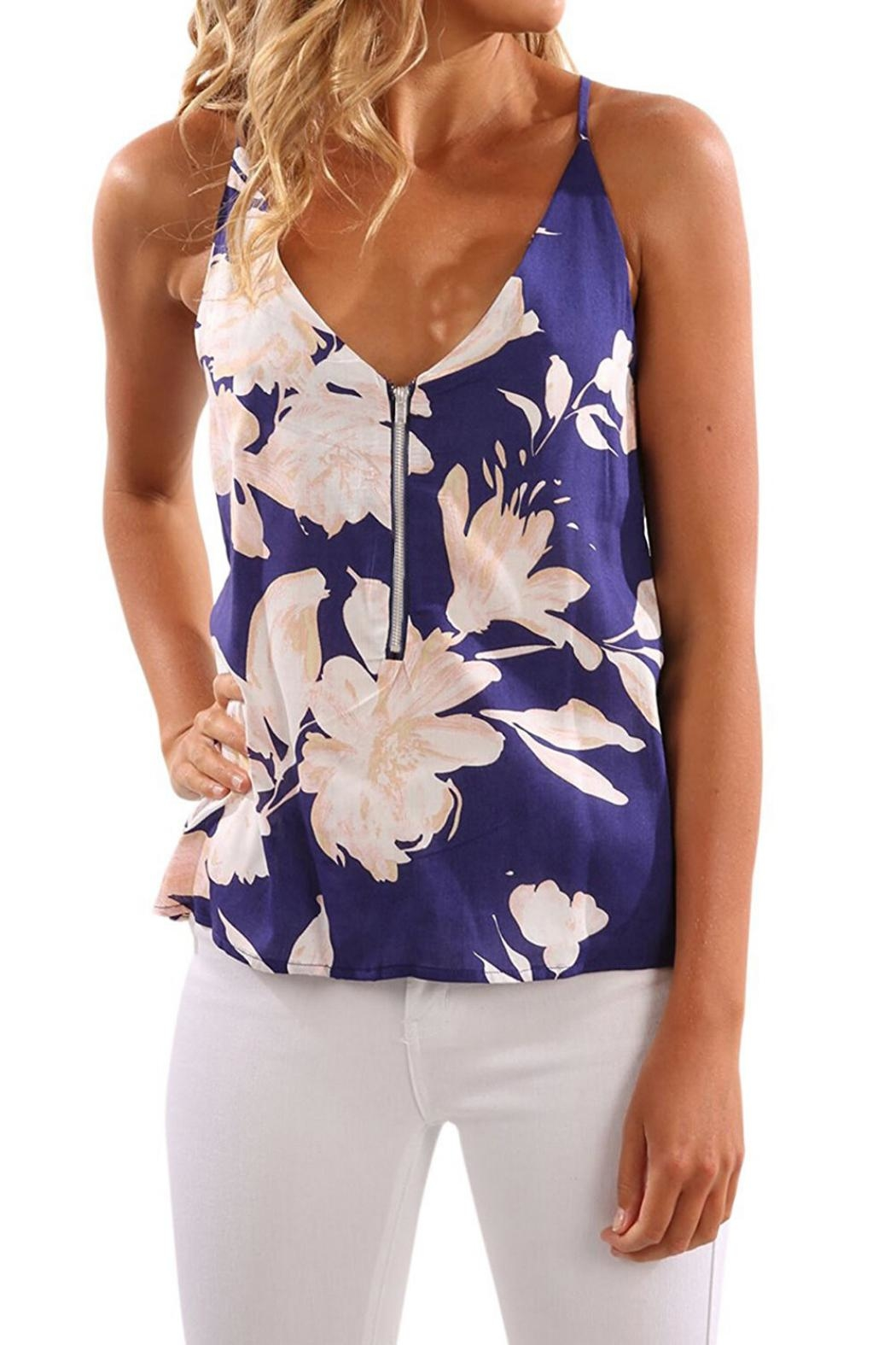 Unbranded Navy Floral Top - Main Image