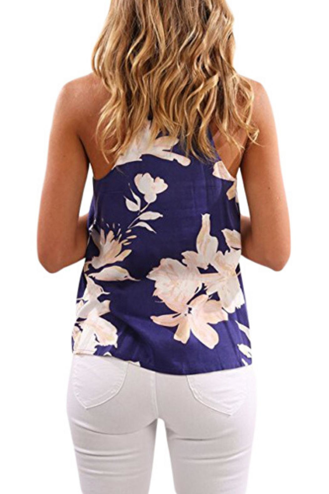 Unbranded Navy Floral Top - Front Full Image