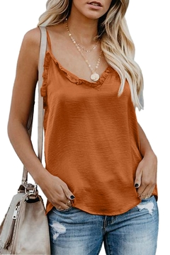 Unbranded Orange Ruffle Tank - Product List Image