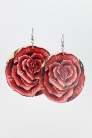 Unbranded Pink-Roses-Print Handcrafted Shell-Earrings - Product Mini Image