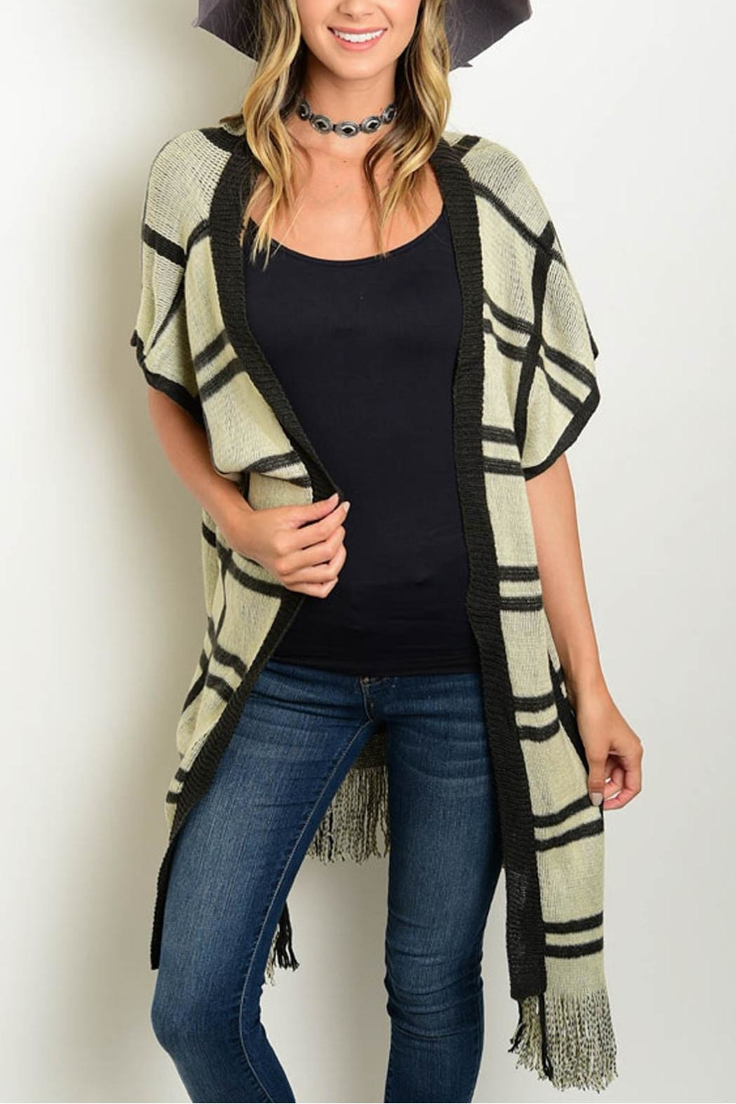 Unbranded Plaid Sleeveless Poncho - Front Cropped Image