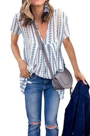 Unbranded Printed V-Neck Blouse - Product Mini Image