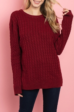 Unbranded Red Cable-Knit Sweater - Product List Image