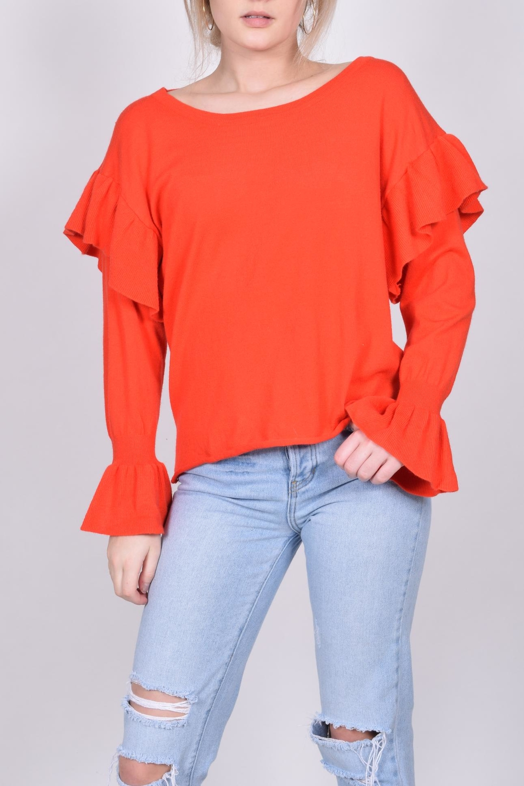 Unbranded Red Ruffle Sweater - Main Image