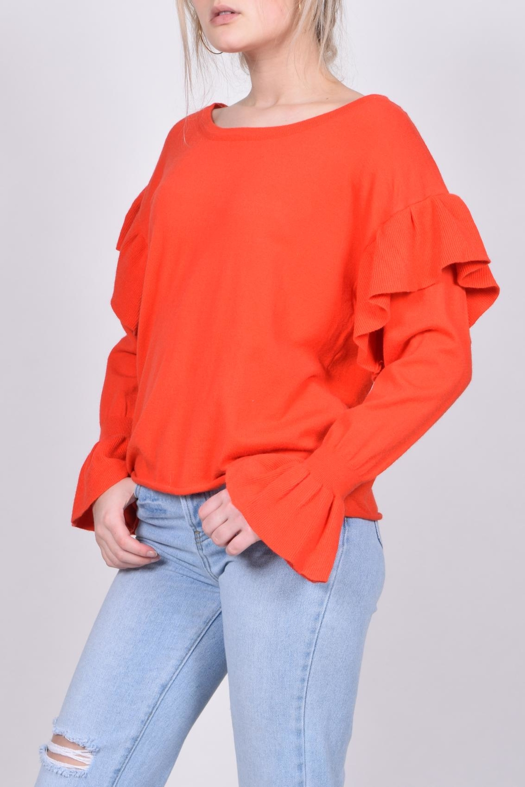 Unbranded Red Ruffle Sweater - Side Cropped Image
