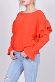 Unbranded Red Ruffle Sweater - Side cropped