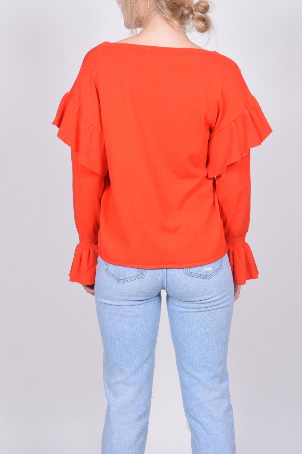 Unbranded Red Ruffle Sweater - Back Cropped Image