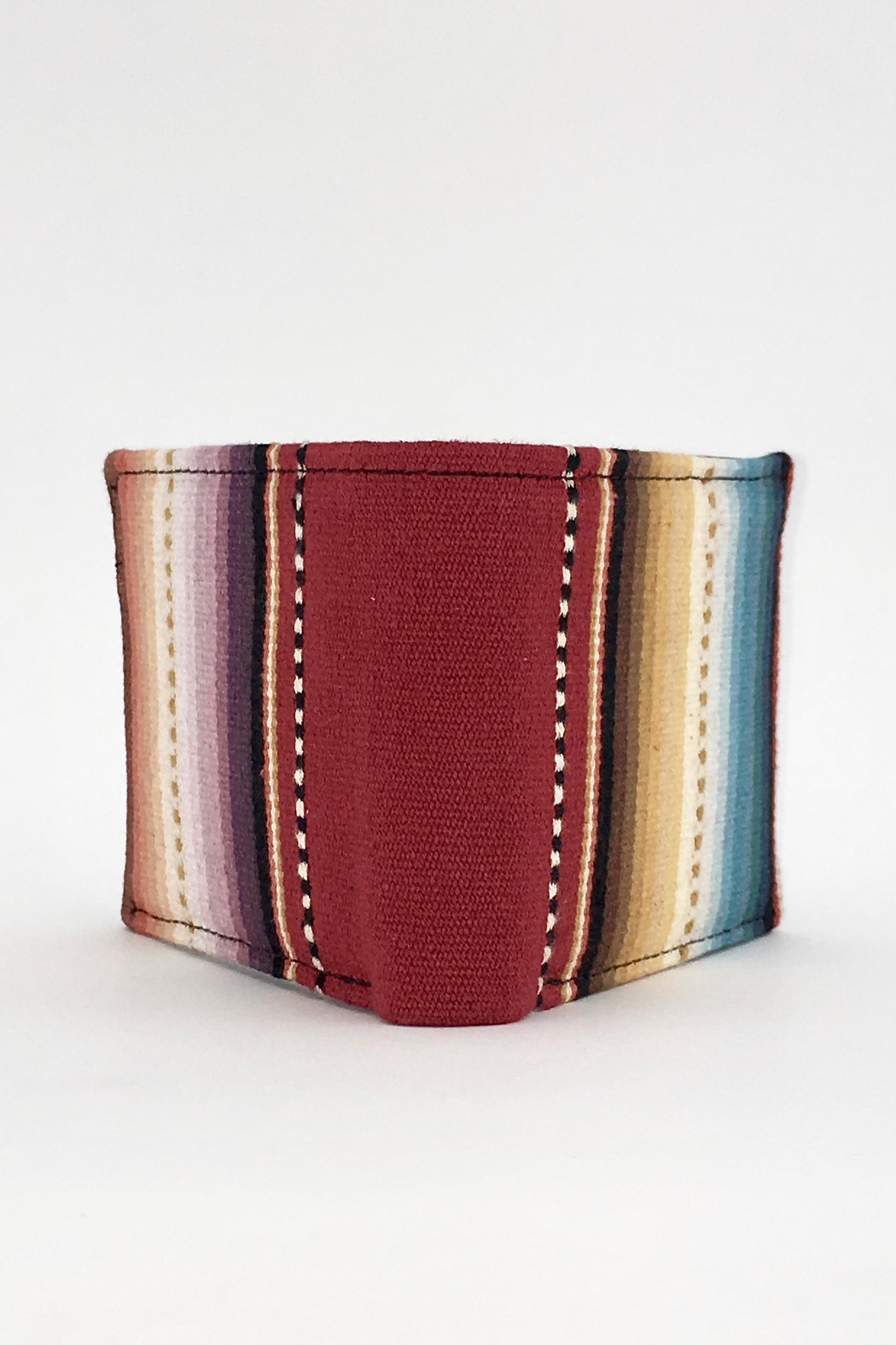 Unbranded Red-Sarape-Woven-Textile Handcrafted Billfold-Wallet - Back Cropped Image