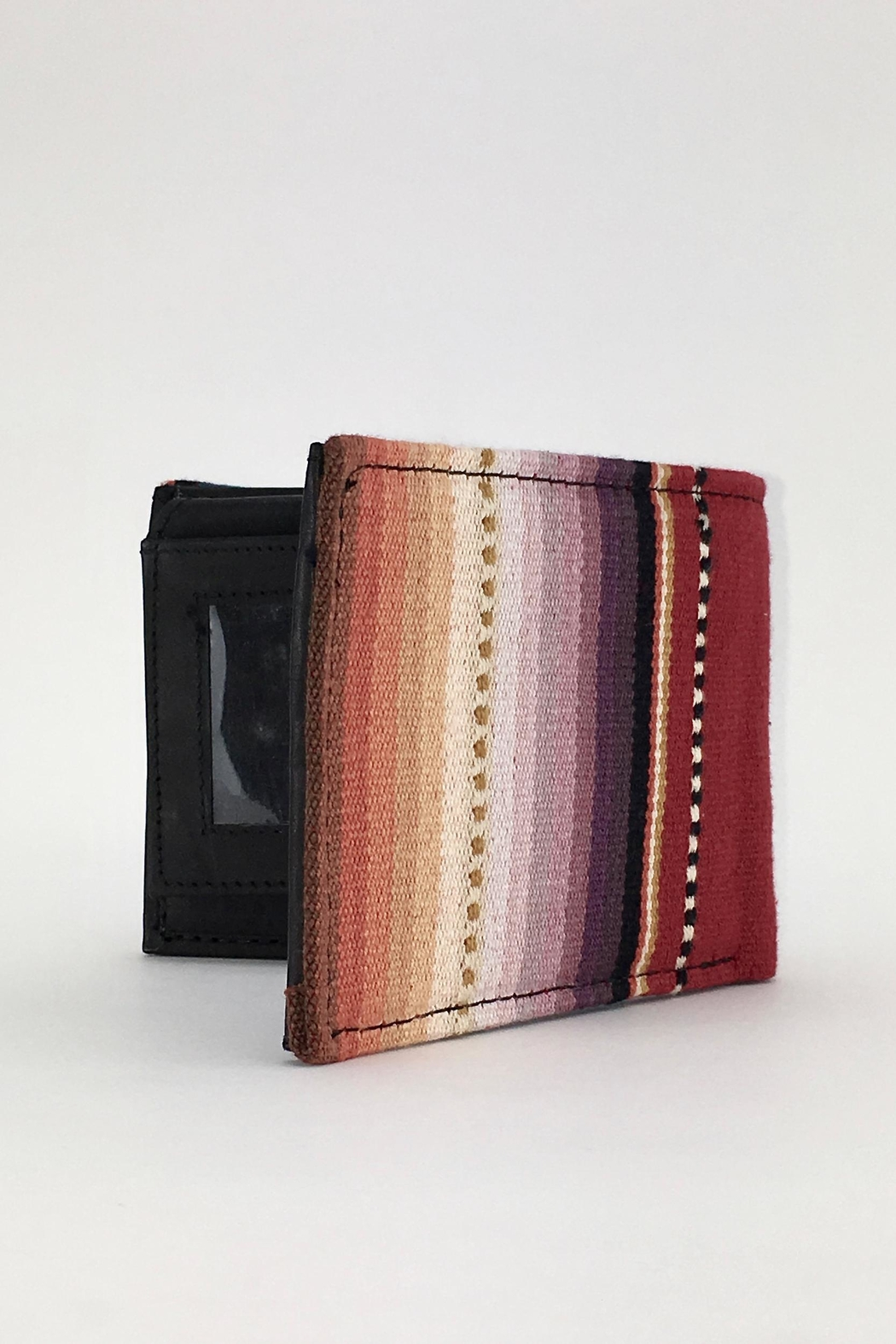 Unbranded Red-Sarape-Woven-Textile Handcrafted Billfold-Wallet - Side Cropped Image