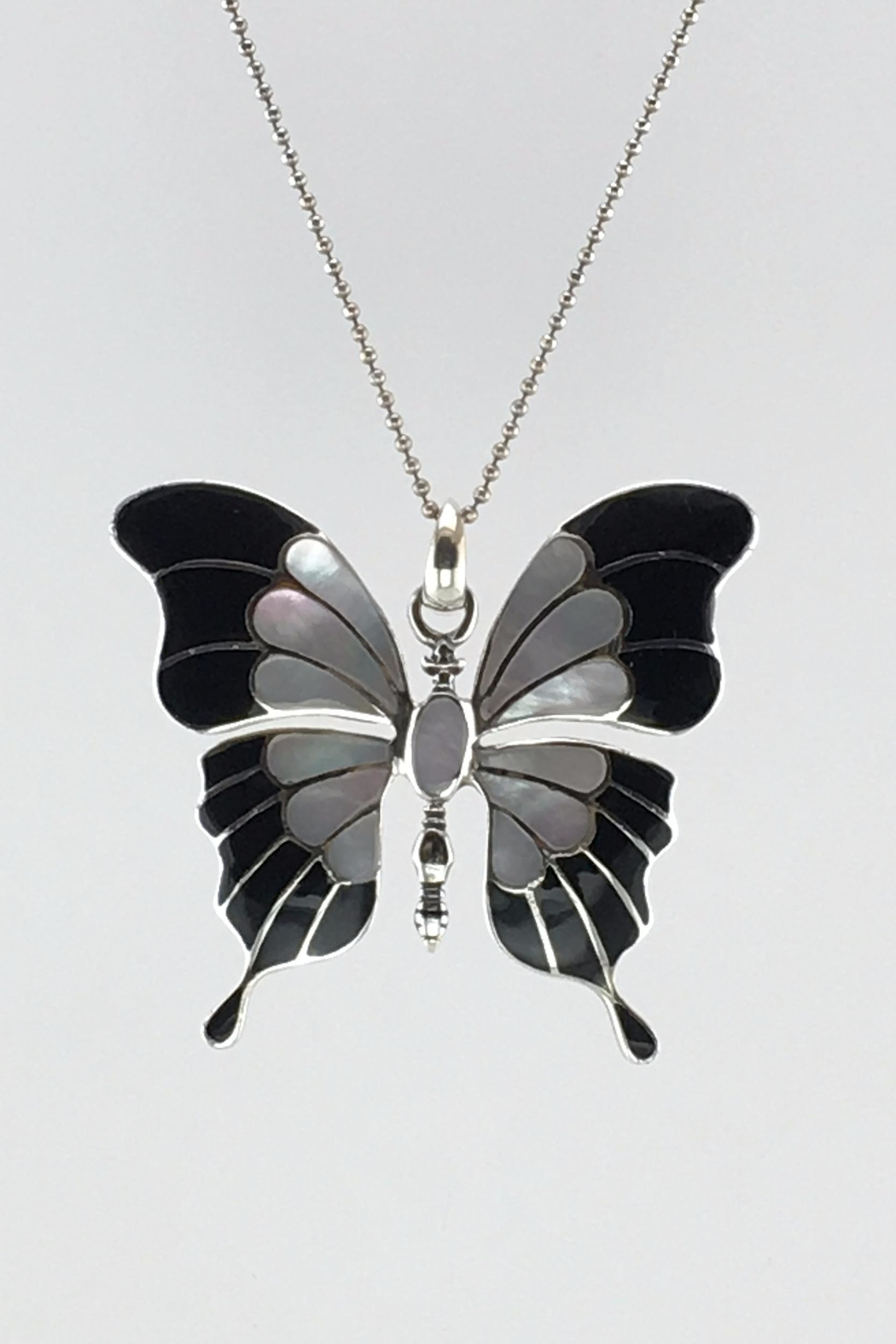 Unbranded Shell-Pearl-Inlay Black-And-White Sterling-Silver-Butterfly-Pendant - Front Cropped Image